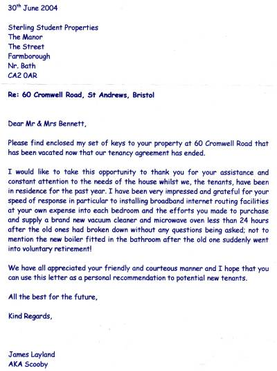 thank you letter to tenant moving out